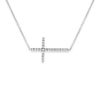 Diamond Sideways Cross Necklace in 14k White Gold with 22 Diamonds weighing .19ct tw.