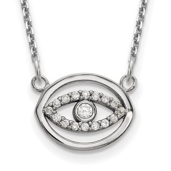 14k White Gold Small Necklace Diamond Gold Halo Evil Eye