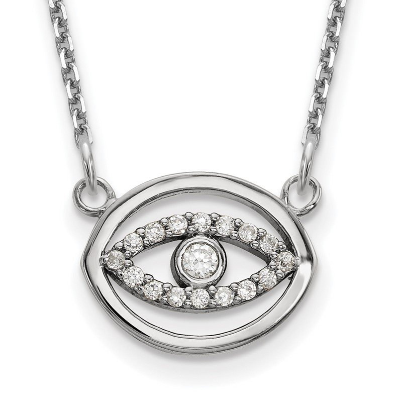 Quality Gold 14k White Gold Small Necklace Diamond Gold Halo Evil Eye