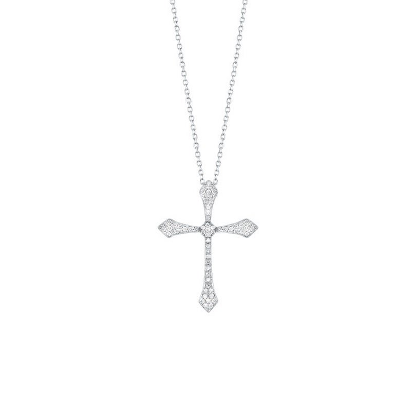 Gems One Diamond Celtic Cross Pendant Necklace in 14k White Gold (¼ ctw)