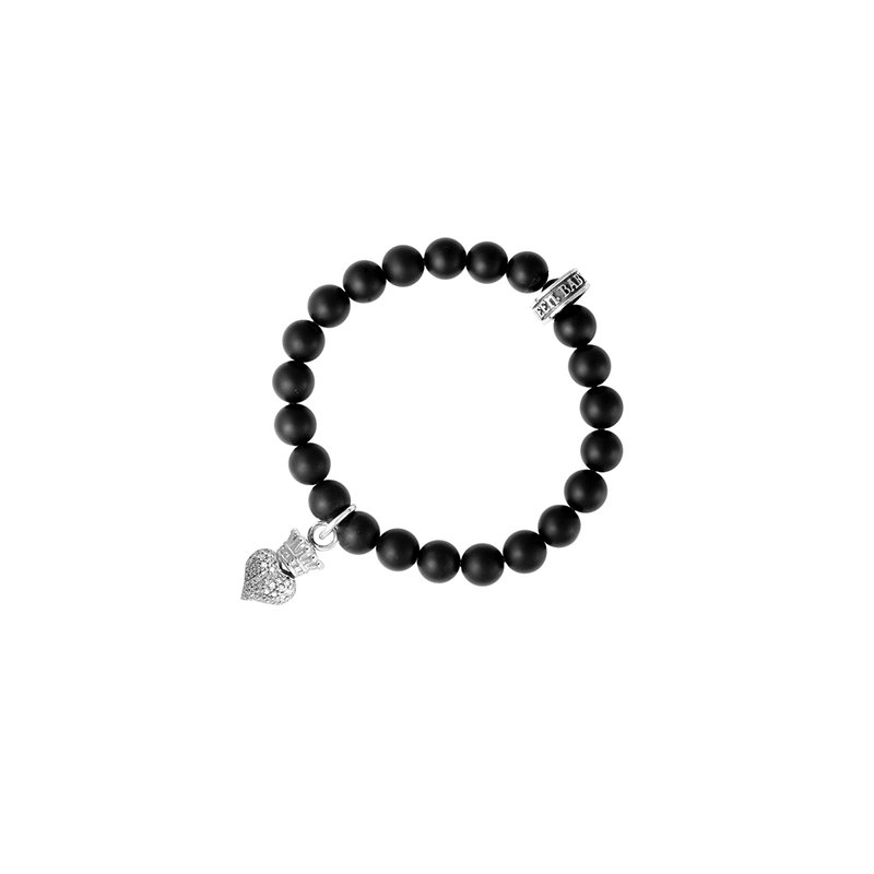 King Baby Black Onyx Bead Bracelet With Baby Cz Pave Crowned Heart.