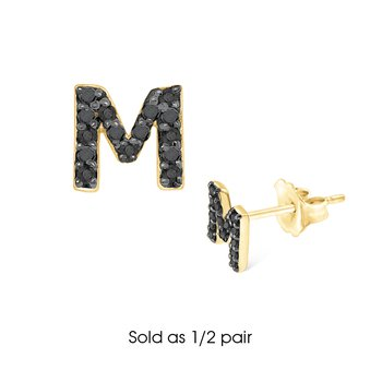 "Black Diamond Single Initial ""M"" Stud Earring (1/2 pair)"