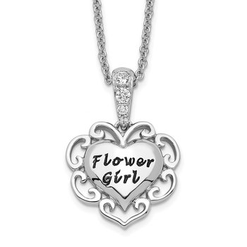 Sterling Silver CZ Antiqued Flower Girl 18in. Necklace