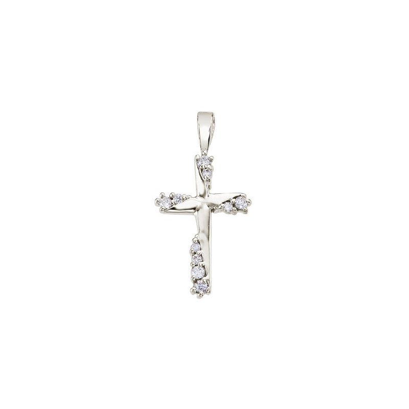 Color Merchants 14K White Gold .20 Ct Diamond Cross Pendant