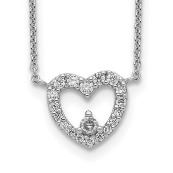 Sterling Silver Rhodium Plated CZ Heart Necklace
