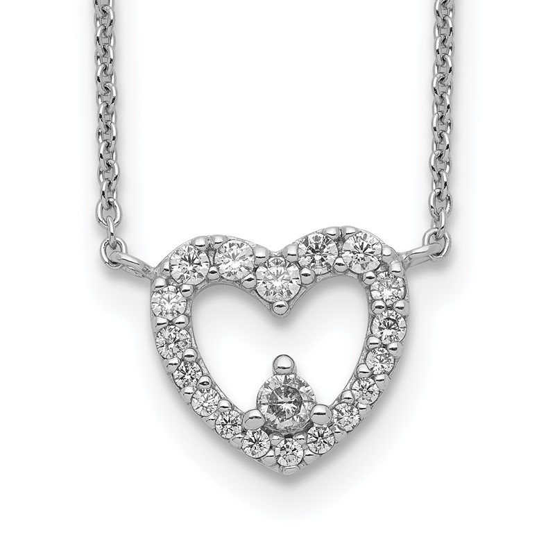 Quality Gold Sterling Silver Rhodium Plated CZ Heart Necklace