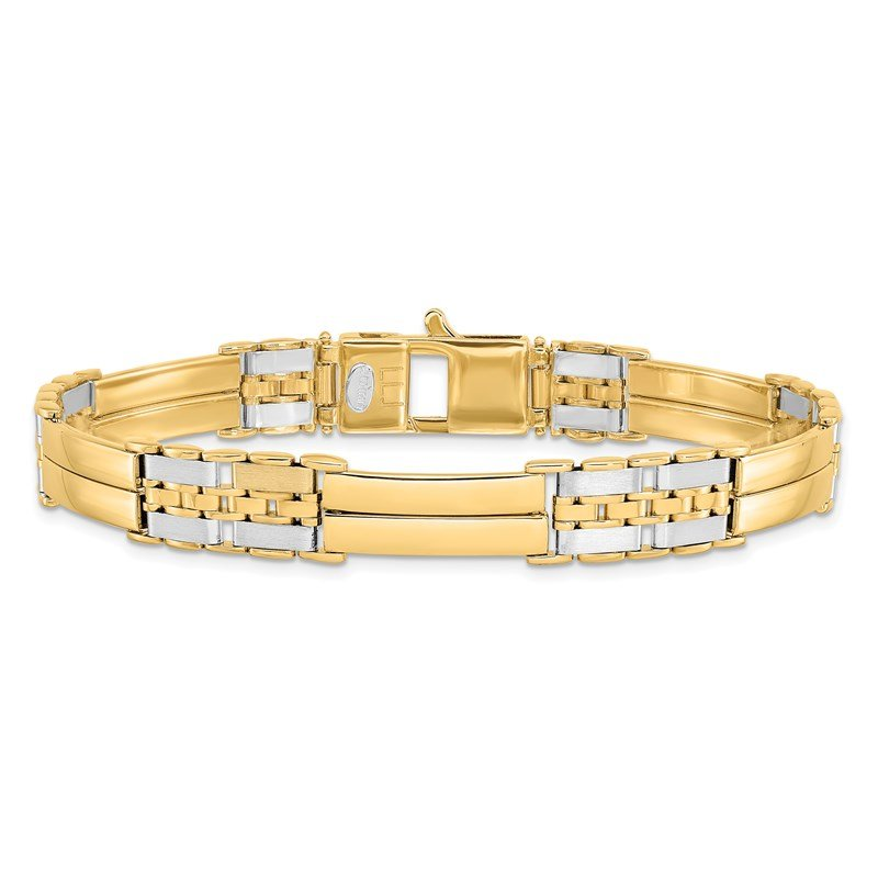 Leslie's Leslie's 14K Two-tone Polished and Brushed Men's Link Bracelet