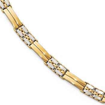 Leslie's 14K Two-tone Polished and Brushed Men's Link Bracelet