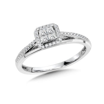 Princess-Cut Cluster Diamond Halo Engagement Ring