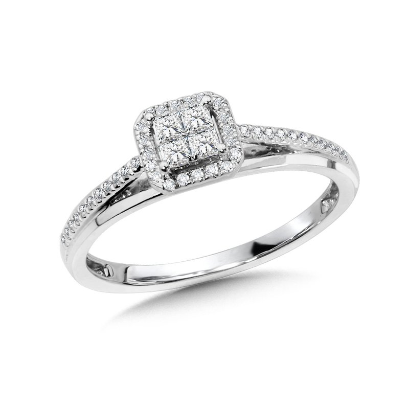 SDC Creations Princess-Cut Cluster Diamond Halo Engagement Ring