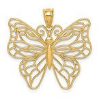 Quality Gold 14k Polished Large Butterfly Pendant