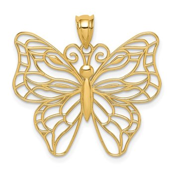 14k Polished Large Butterfly Pendant