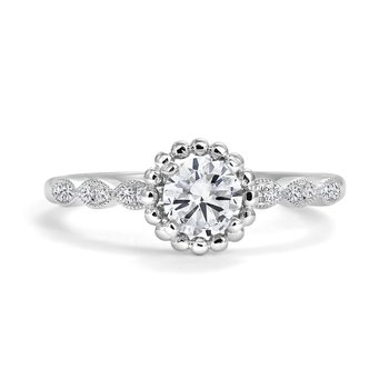 Diamond Bead Solitaire Engagement Ring