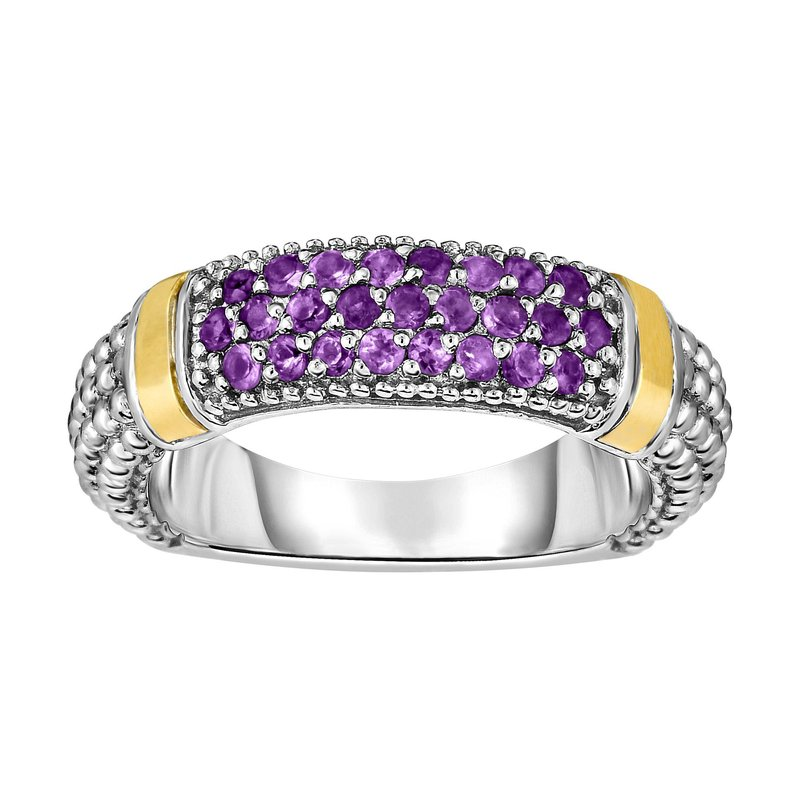 Royal Chain Silver & 18K Round Amethyst Popcorn Ring
