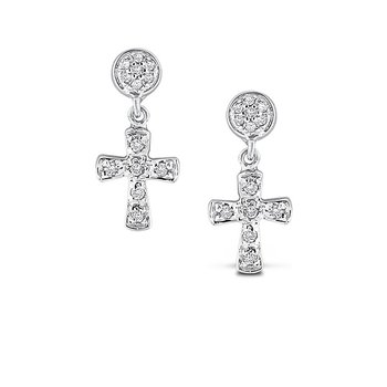 Diamond Cross Earrings in 14k White Gold with 26 Diamonds weighing .15ct tw