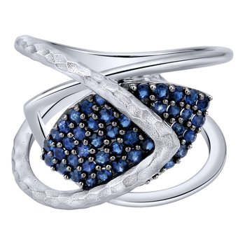 925 Silver And Pave Sapphire Wide Band Ladies Ring