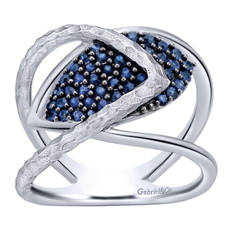 Gabriel Fashion 925 Sterling Silver Wide Band Sapphire Cluster Ring