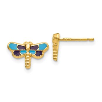 14k Enameled Dragonfly Earrings