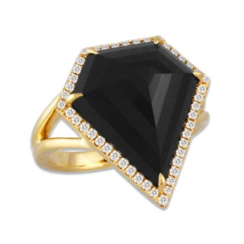 Gatsby Onyx Shield & Diamond Ring