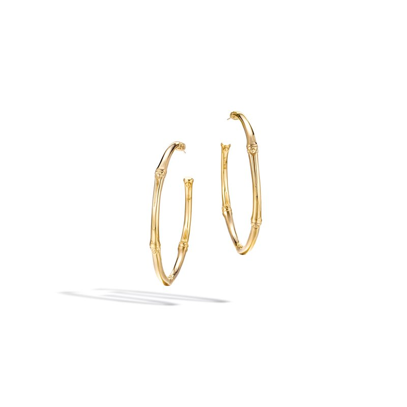 John Hardy Bamboo Large Hoop Earring In 18k Gold Stock Yeg5054