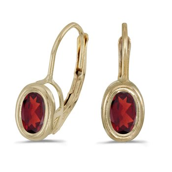 14k Yellow Gold Oval Garnet Bezel Lever-back Earrings