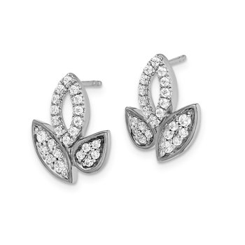 14k White Gold Diamond Fancy Leaf Earrings