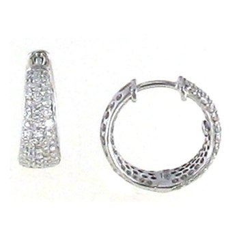18KT GOLD SMALL TAPERED HOOP EARRINGS WITH DIAMONDS
