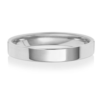 18Ct White Gold 3mm Flat Court Wedding Ring