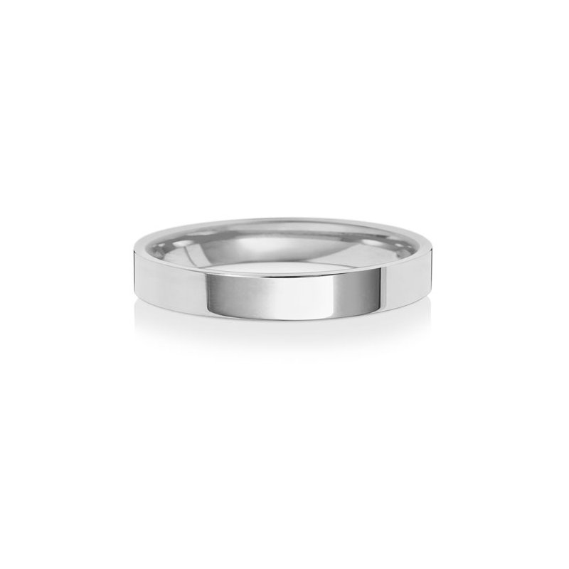 Treasure 18Ct White Gold 3mm Flat Court Wedding Ring