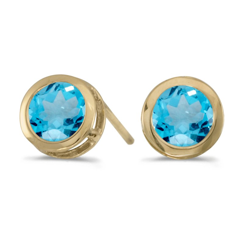Color Merchants 14k Yellow Gold Round Blue Topaz Bezel Stud Earrings