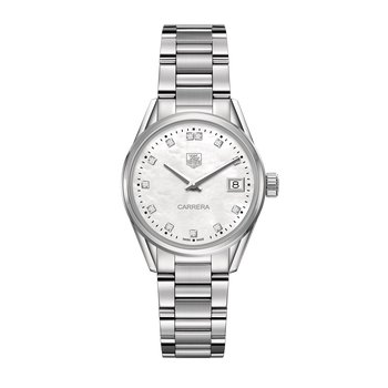 Ladies Carrera Stainless Steel Watch. The 32 mm Quartz Watch Has A Steel Case, Steel Bracelet And A Mother Of Pearl Dial With Diamond Hour Markers. Model WAR1314.