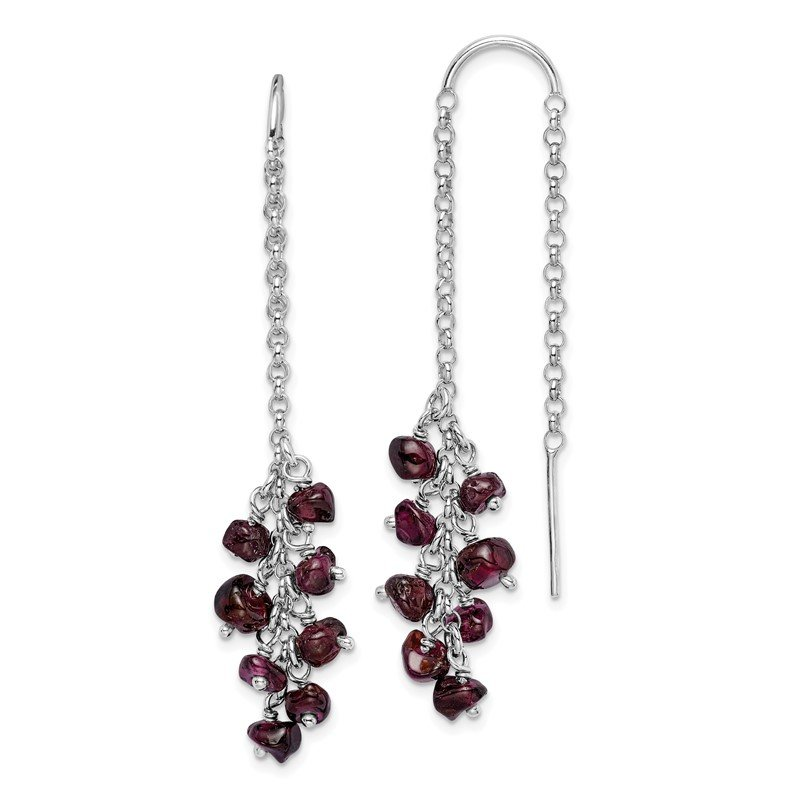 Quality Gold Sterling Silver Rhodium-plated Garnet Cluster Dangle Earrings