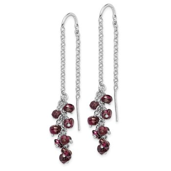 Sterling Silver Rhodium-plated Garnet Cluster Dangle Earrings