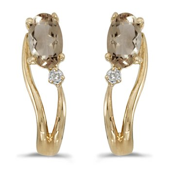 14k Yellow Gold Oval Smokey Topaz And Diamond Wave Earrings