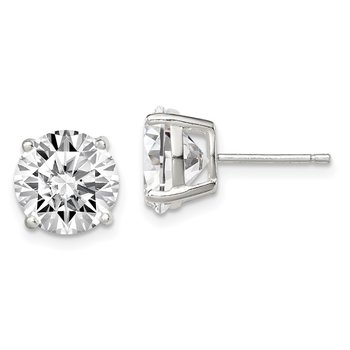 Sterling Silver 9mm Round Basket Set CZ Stud Earrings