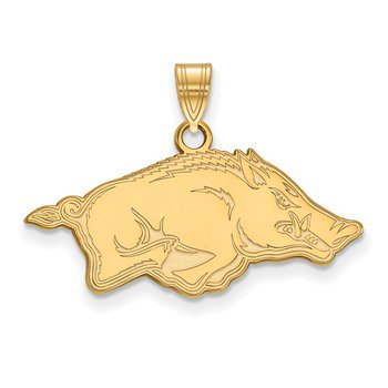 Gold-Plated Sterling Silver University of Arkansas NCAA Pendant