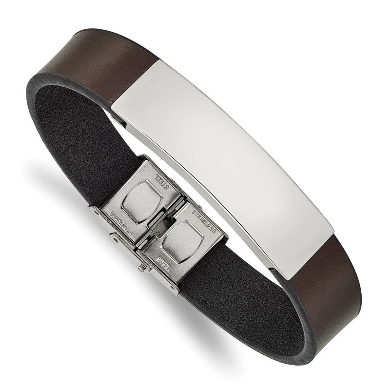 Chisel Stainless Steel Polished Brown Leather 8.25in ID Bracelet