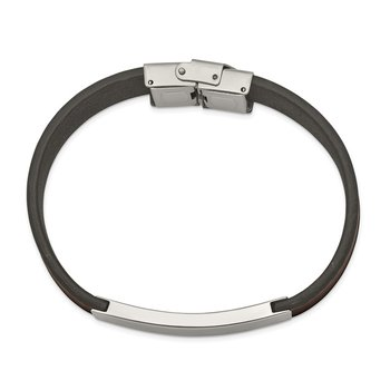 Stainless Steel Polished Brown Leather 8.25in ID Bracelet