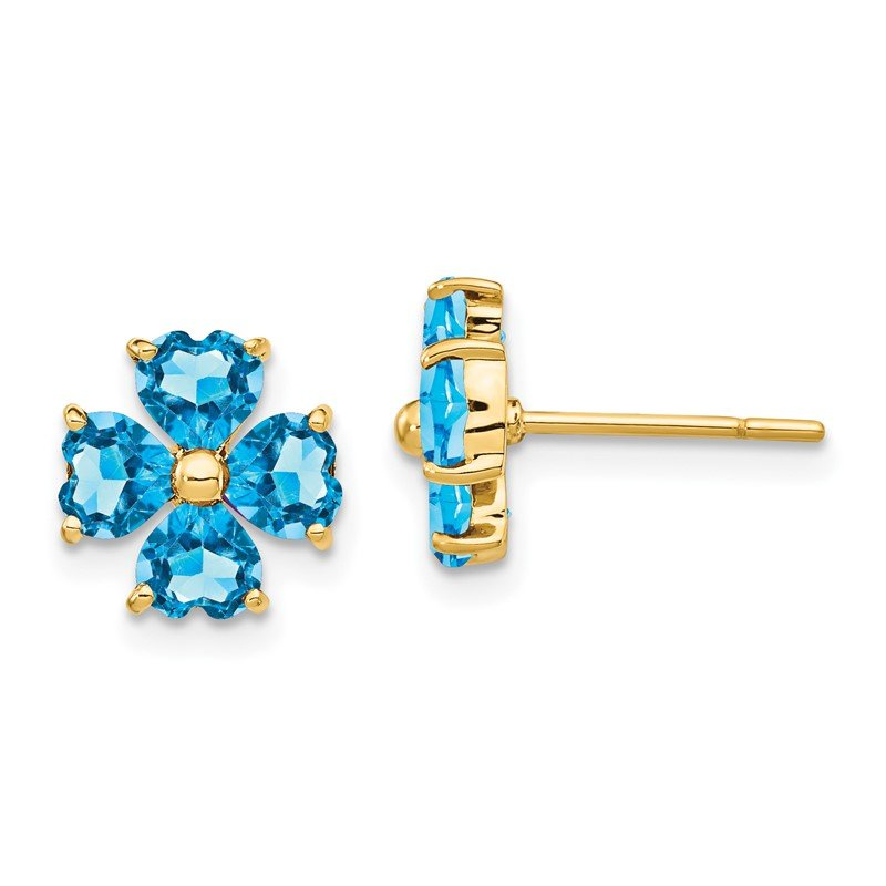 Quality Gold 14k Heart-shaped Swiss Blue Topaz Flower Post Earrings