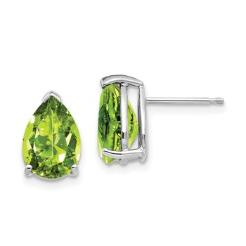 14k White Gold 10x7mm Pear Peridot Earrings
