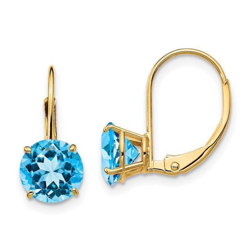 Quality Gold 14k 7mm Blue Topaz Leverback Earrings