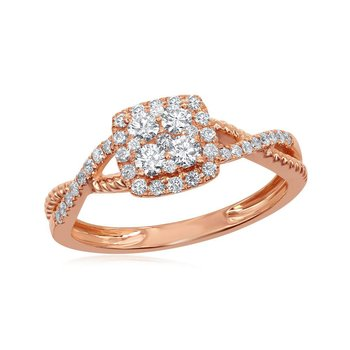 14kt Rose Gold Womens Round Diamond Square Cluster Twist Ring 1/2 Cttw