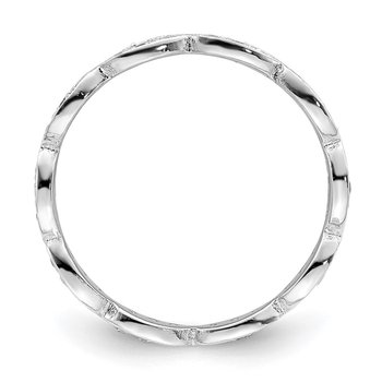 Sterling Silver Rhodium-plated Fancy Scalloped CZ Band