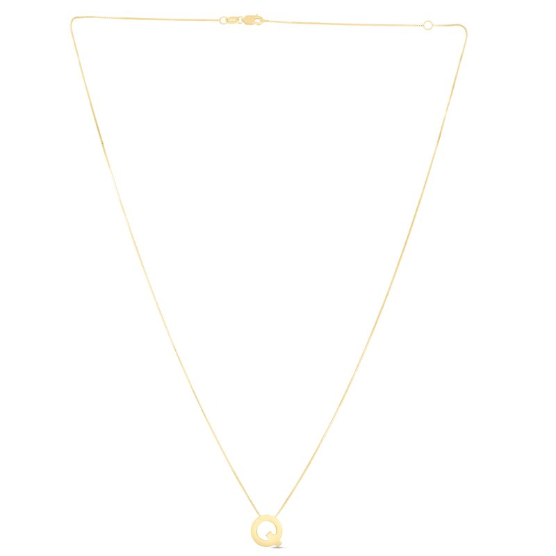 Royal Chain 14K Gold Block Letter Initial Q Necklace