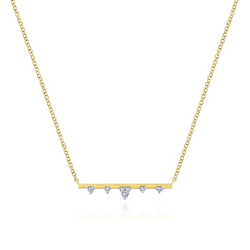 Amavida 14k Yellow Gold Diamond Station Bar Necklace