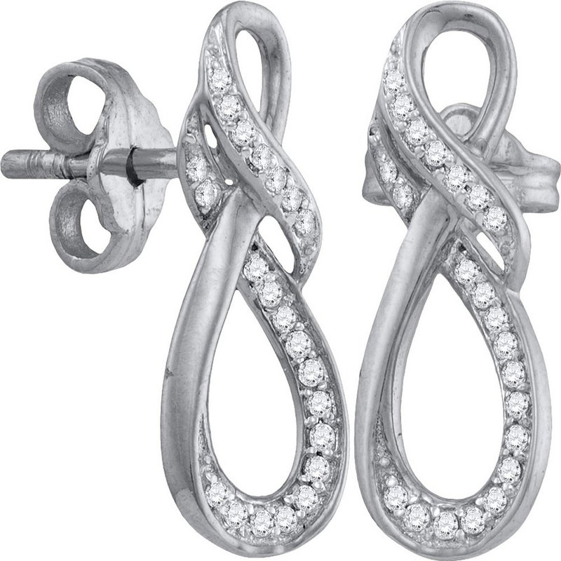 Kingdom Treasures 10kt White Gold Womens Round Diamond Vertical Infinity Stud Earrings 1/6 Cttw