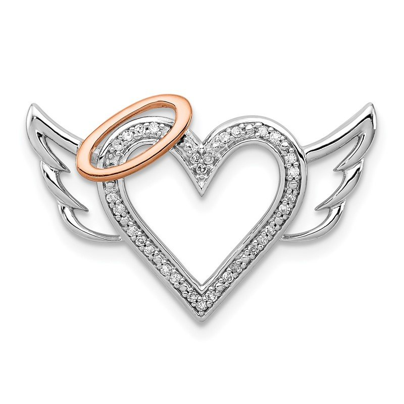 Sterling Silver Rhodium W/10K Rose Gold Dia. Heart/Wings Slide Pendant