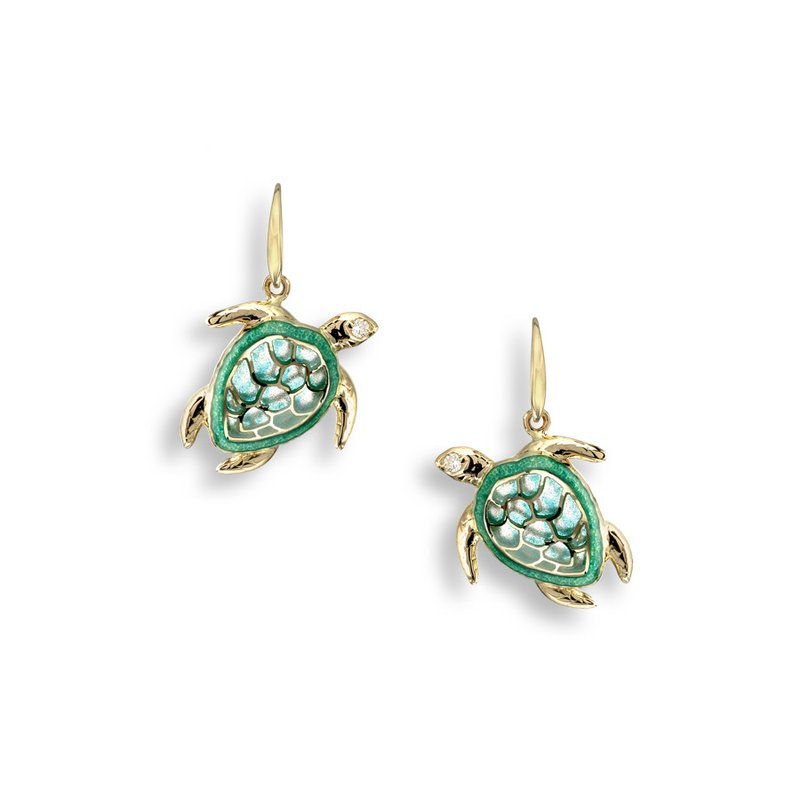 Nicole Barr Designs Green Turtle Wire Earrings.18K -Diamonds - Plique-a-Jour