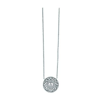 Diamond Large Filigree Necklace in 14k White Gold with 32 Diamonds weighing .29ct tw.