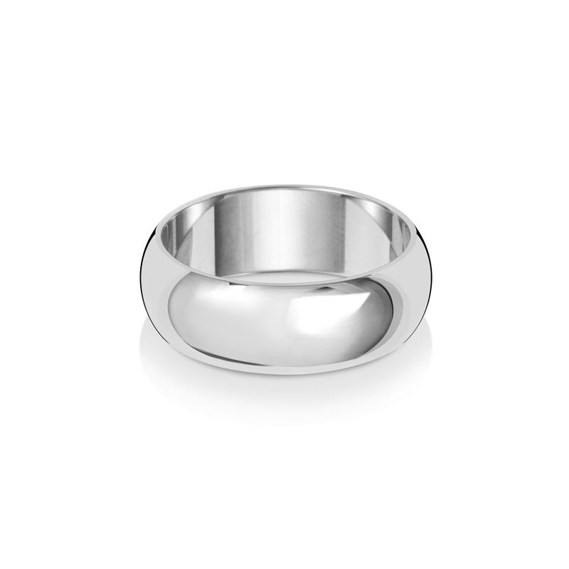 Treasure 18Ct White Gold 7mm D Shape Wedding Ring